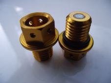 "Magnetic CNC gold sump plug Oil Drain Bolt ""Lockwire drilled"" M12x1.5 Honda"